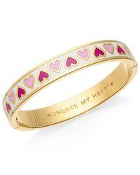 kate spade new york | Metallic Gold-tone Unlock My Heart Enamel Bangle Bracelet | Lyst