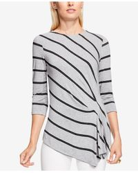 Vince Camuto | Gray Ruched Asymmetrical Top | Lyst