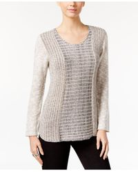 Style & Co. | Gray Marled Colorblocked Sweater | Lyst