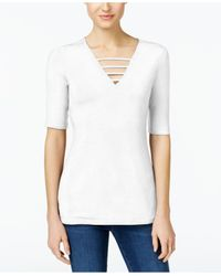 INC International Concepts - White Petite Strappy V-neck Top - Lyst