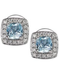 Le Vian | Multicolor Aquamarine (3/8 Ct. T.w.) And Diamond (1/10 Ct. T.w.) Stud Earrings In 14k White Gold | Lyst