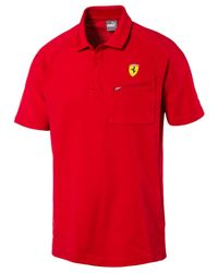 PUMA | Red Men's Ferrari Drycell Cotton Polo for Men | Lyst
