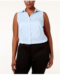 Charter Club - Blue Plus Size Collared Shirt - Lyst