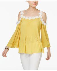INC International Concepts   Yellow Petite Lace-trim Cold-shoulder Top   Lyst