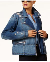 INC International Concepts | Blue Embellished Denim Moto Jacket | Lyst