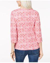 Karen Scott Pink Petite Cotton Heart-print Henley T-shirt, Created For Macy's