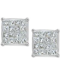 Macy's - Metallic Diamond Quad Earrings (3/4 Ct. T.w.) In 10k White Gold - Lyst