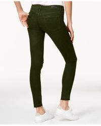 Articles Of Society - Sara Colored Denim Distressed Skinny Jeans, Dark Green Wash - Lyst