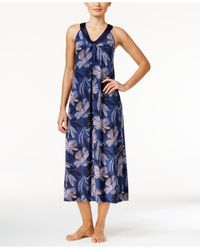 Alfani - Blue Satin-trimmed V-neck Printed Knit Nightgown - Lyst