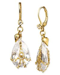 Betsey Johnson | Metallic Teardrop Crystal Earrings | Lyst
