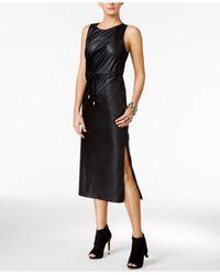 Guess Black Levin Faux-leather Midi Dress