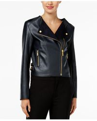 Michael Kors | Blue Petite Faux-leather Moto Jacket | Lyst