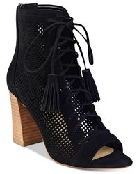 Marc Fisher | Black Shaini Perforated Lace-up Peep-toe Booties | Lyst