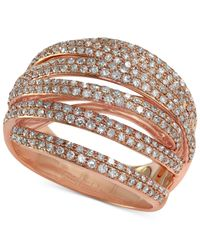 Effy Collection - Metallic Pave Rose By Effy Diamond Dome Crossover Ring (1 Ct. T.w.) In 14k Rose Gold - Lyst