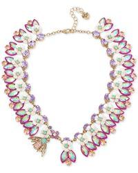 Betsey Johnson - Metallic Gold-tone Multi-stone Bee Necklace - Lyst