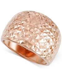 Macy's | Metallic Textured Wide Ring In 14k Rose Gold | Lyst