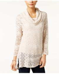Style & Co. | Natural Petite Pointelle Cowl-neck Sweater | Lyst