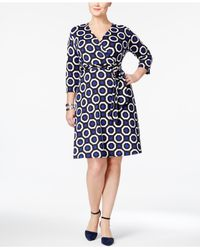 INC International Concepts | Blue Plus Size Printed Wrap Dress | Lyst