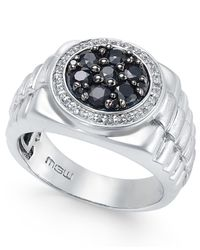 Macy's | Metallic Men's Sapphire Cluster Ring (1-1/5 Ct. T.w.) In Sterling Silver for Men | Lyst