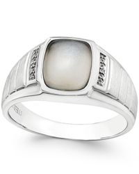 Macy's | Metallic Men's Moonstone (10 X 8mm) And Diamond Accent Ring In Sterling Silver for Men | Lyst