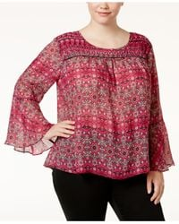 Jessica Simpson | Red Trendy Plus Size Wilma Bell-sleeve Blouse | Lyst