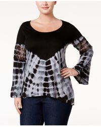 Jessica Simpson | Black Trendy Plus Size Laurine Tie-dyed Top | Lyst
