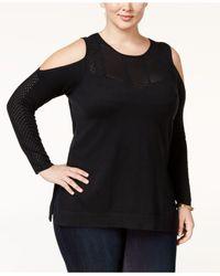 Jessica Simpson | Black Trendy Plus Size Cold-shoulder Sweater | Lyst