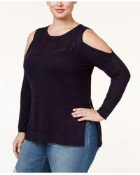 Jessica Simpson | Blue Trendy Plus Size Cold-shoulder Sweater | Lyst