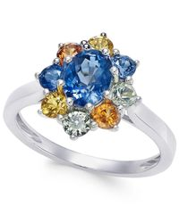 Macy's - Metallic Multi-sapphire Floral Ring (2 Ct. T.w.) In 14k White Gold - Lyst