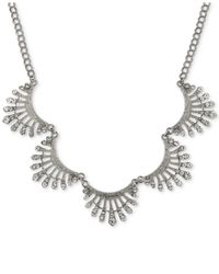 2028 - Metallic Silver-tone Crystal Pavé Scalloped Collar Necklace - Lyst