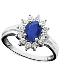 Macy's | Sapphire (9/10 Ct. T.w.) And Diamond Accent Ring In 10k White Gold | Lyst