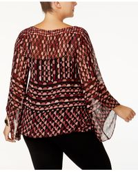 Alfani - Red Plus Size Printed Angel-sleeve Top - Lyst