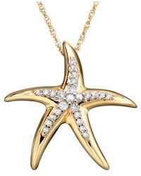 Macy's   Metallic Diamond Starfish Pendant Necklace In 14k Gold (1/10 Ct. T.w.)   Lyst