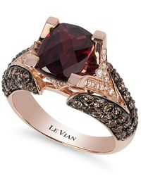 Le Vian | Red Raspberry Rhodolite Garnet (3 Ct. Tw.w.), Chocolate Diamond (1-1/5 Ct. T.w.) And White Diamond Accent Ring In 14k Rose Gold | Lyst