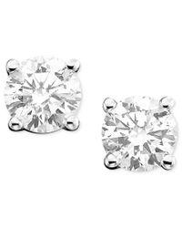 Macy's | Metallic Diamond Stud Earrings In 14k White Or 14k Gold (3/8 Ct. T.w.) | Lyst
