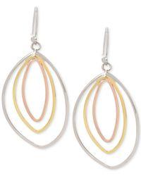 Touch Of Silver - Metallic Tri-tone Drop Hoop Earrings - Lyst