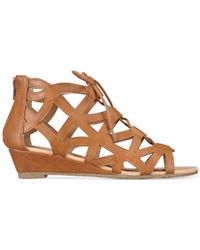Esprit - Brown Cacey Lace-up Wedge Sandals - Lyst