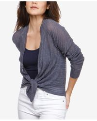 Lucky Brand - Blue Long-sleeve Tie-hem Cardigan - Lyst