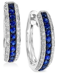 Effy Collection - Blue Sapphire (1/3 Ct. T.w.) And Diamond (1/4 Ct. T.w.) Hoop Earrings In 14k White Gold - Lyst