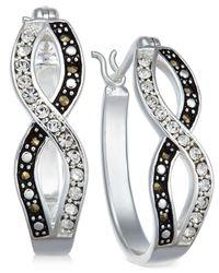 Macy's - White Marcasite & Crystal Infinity Hoop Earrings In Fine Silver-plate - Lyst