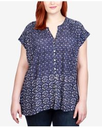 Lucky Brand - Blue Trendy Plus Size Printed Blouse - Lyst
