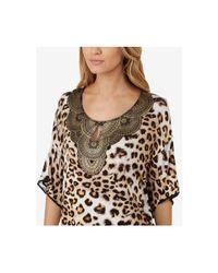 Ellen Tracy | Multicolor Gold-foil-neckline Printed Pajama Set | Lyst
