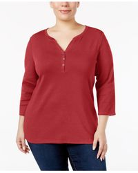 Karen Scott Red Plus Size Cotton Henley Top, Created For Macy's