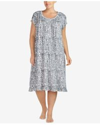 Eileen West - Black Plus Size Waltz Ruffled-trim Modal-blend Nightgown - Lyst