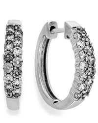 Macy's - Diamond Two-row Hoop Earrings In 14k White Gold (1 Ct. T.w.) - Lyst