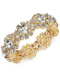 Charter Club - Metallic Gold-tone Crystal Flower Stretch Bracelet - Lyst