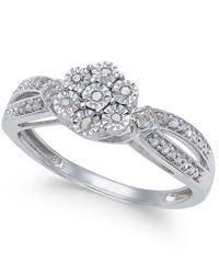 Macy's - Metallic Diamond Miracle Plate Cluster Ring (1/10 Ct. T.w.) In Sterling Silver - Lyst