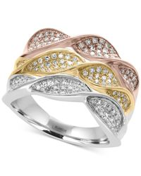 Effy Collection - Metallic Diamond Pavé Twist Ring (5/8 Ct. T.w.) In 14k White, Yellow And Rose Gold - Lyst