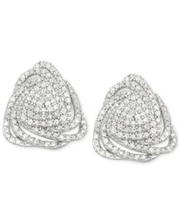 Wrapped in Love - Metallic Diamond Triangle Floral Stud Earrings (1 Ct. T.w.) In Sterling Silver - Lyst