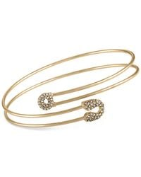 RACHEL Rachel Roy - Metallic Gold-tone Pavé Safety Pin Wrap Bangle Bracelet - Lyst